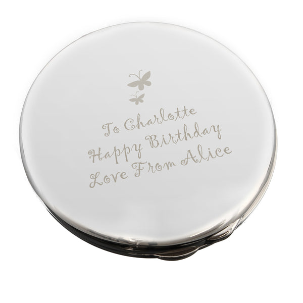 Personalised Butterfly Round Compact Mirror white background