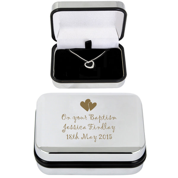 Personalised Heart Necklace and Box with personalised name