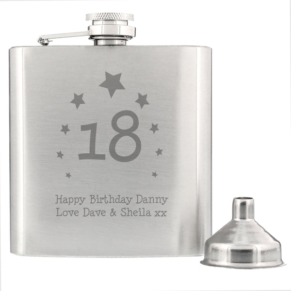 Personalised Stars Age Hip Flask from Sassy Bloom Gifts - alternative view