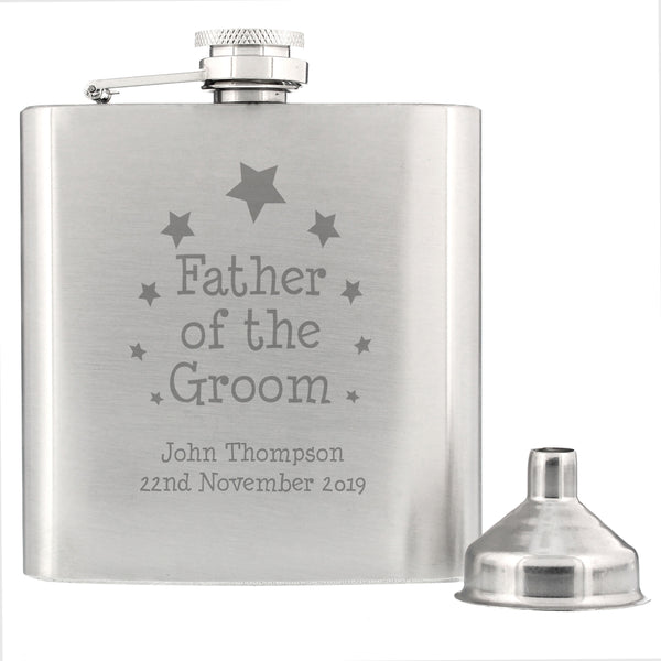 Personalised Stars Father of Groom Hip Flask from Sassy Bloom Gifts - alternative view