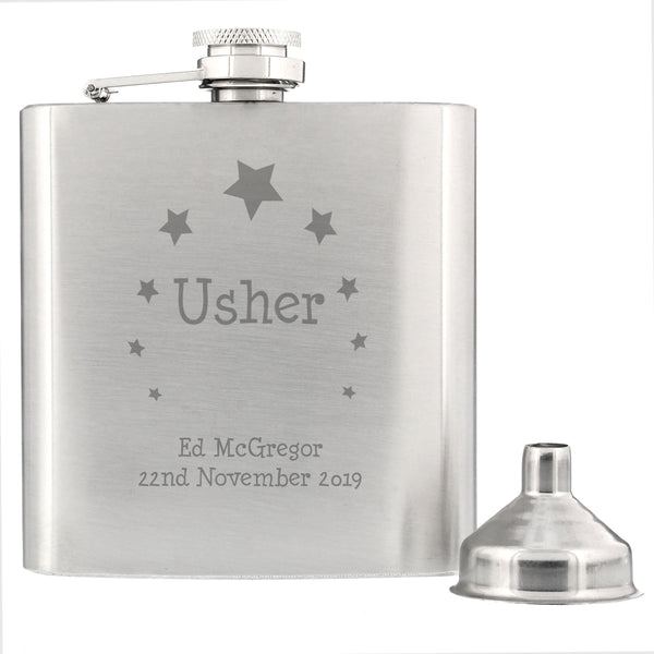 Personalised Stars Usher Hip Flask from Sassy Bloom Gifts - alternative view