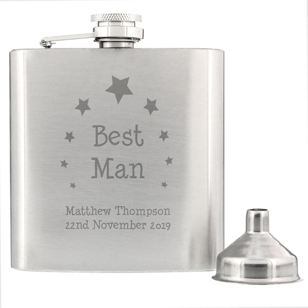 Personalised Stars Best Man Hip Flask from Sassy Bloom Gifts - alternative view
