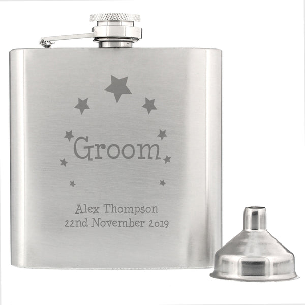 Personalised Stars Groom Hip Flask from Sassy Bloom Gifts - alternative view
