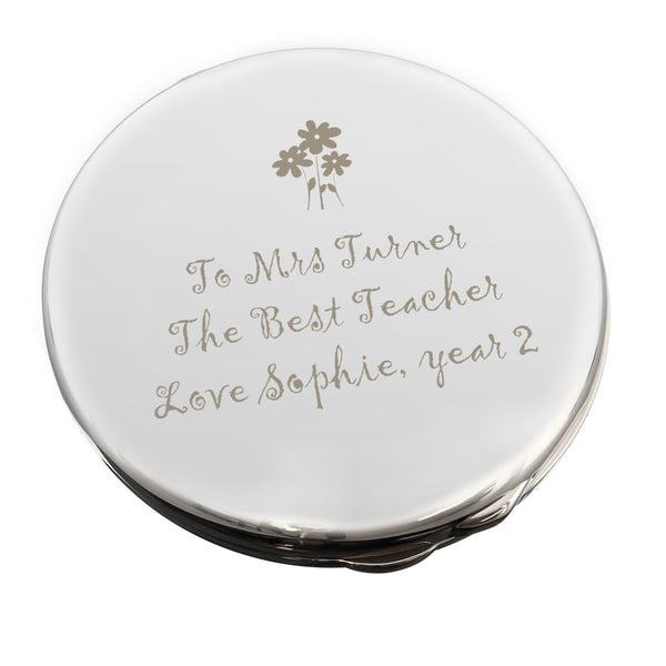 Personalised Flower Teachers Round Compact Mirror white background