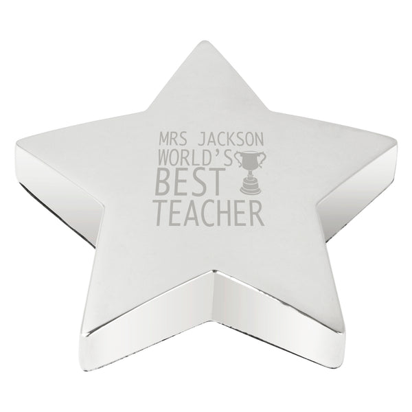 Personalised Teacher Trophy Star Paperweight white background