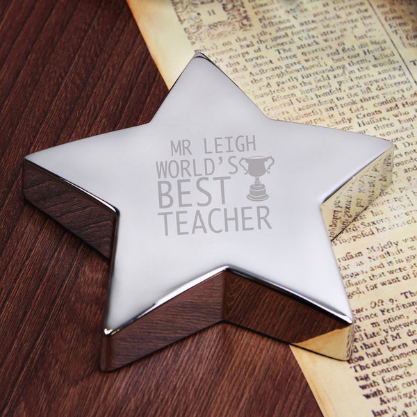 Personalised Teacher Trophy Star Paperweight from Sassy Bloom Gifts - alternative view