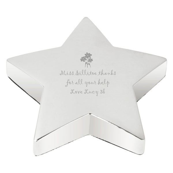 Personalised Flowers Star Paperweight white background