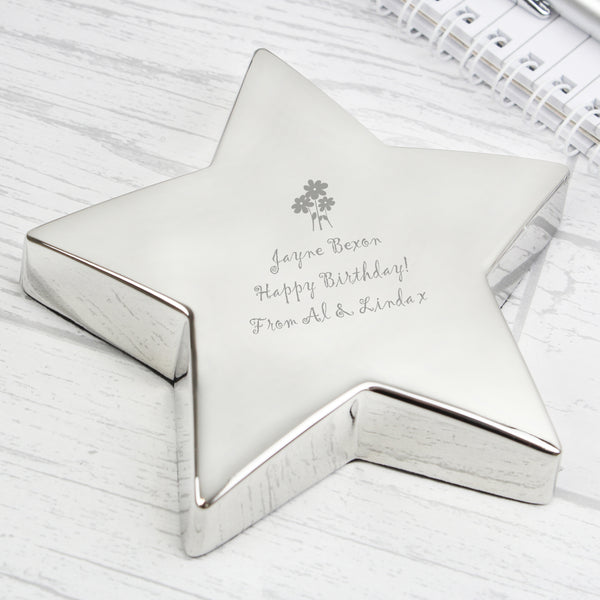 Personalised Flowers Star Paperweight lifestyle image