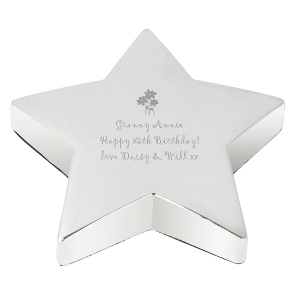 Personalised Flowers Star Paperweight with personalised name