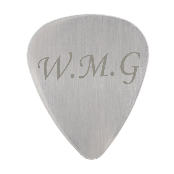 Personalised Initials Silver Plectrum white background