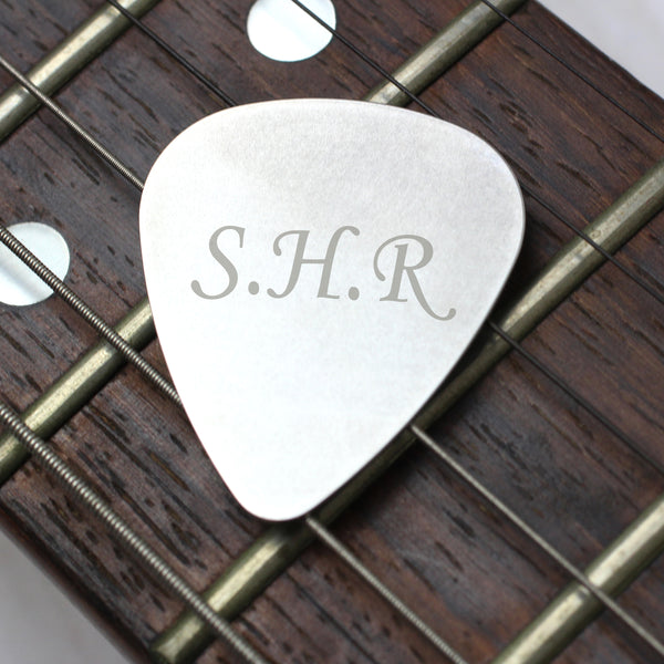 Personalised Initials Silver Plectrum with personalised name