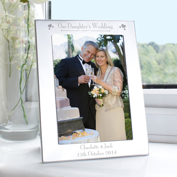 Personalised Silver 5x7 Decorative Our Daughters Wedding Photo Frame white background