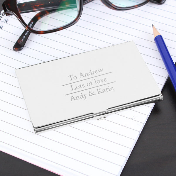 Personalised Classic Business Card Holder white background