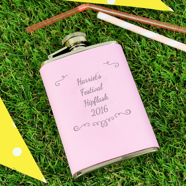 Personalised Ornate Pink Hip Flask lifestyle image