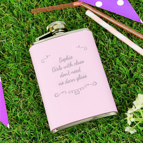 Personalised Ornate Pink Hip Flask with personalised name