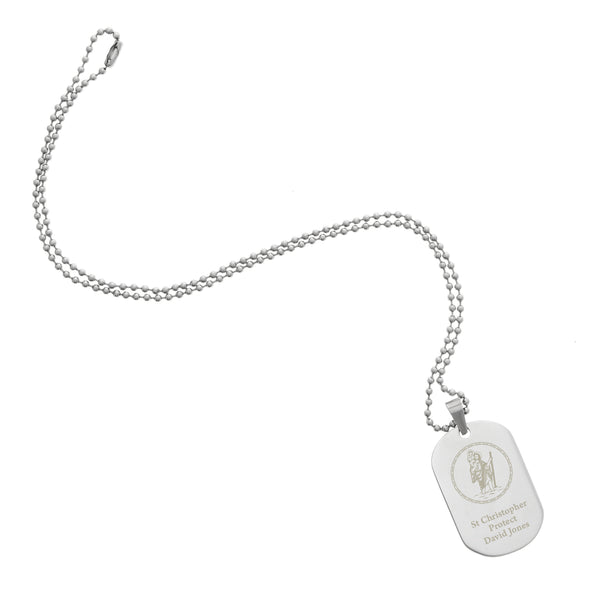 Personalised St Christopher Stainless Steel Dog Tag Necklace white background