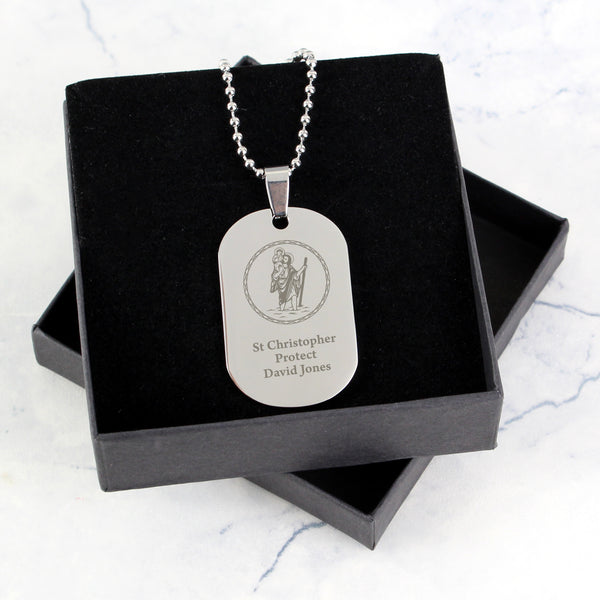 Personalised St Christopher Stainless Steel Dog Tag Necklace lifestyle image