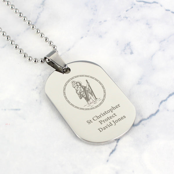 Personalised St Christopher Stainless Steel Dog Tag Necklace with personalised name