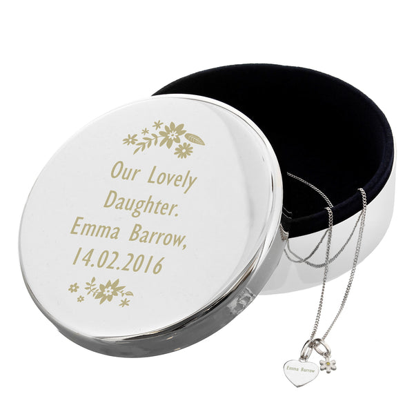 Personalised Engraved Floral Round Trinket Box & Silver Heart Pendant with Daisy Charm Gift Set white background