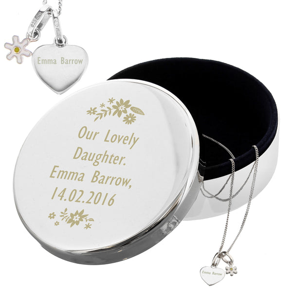 Personalised Engraved Floral Round Trinket Box & Silver Heart Pendant with Daisy Charm Gift Set from Sassy Bloom Gifts - alternative view