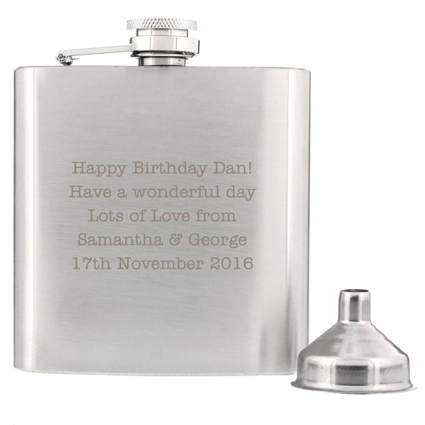 Personalised Any Message Stainless Steel Hip Flask white background