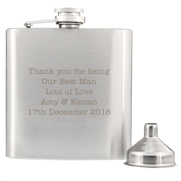 Personalised Any Message Stainless Steel Hip Flask with personalised name