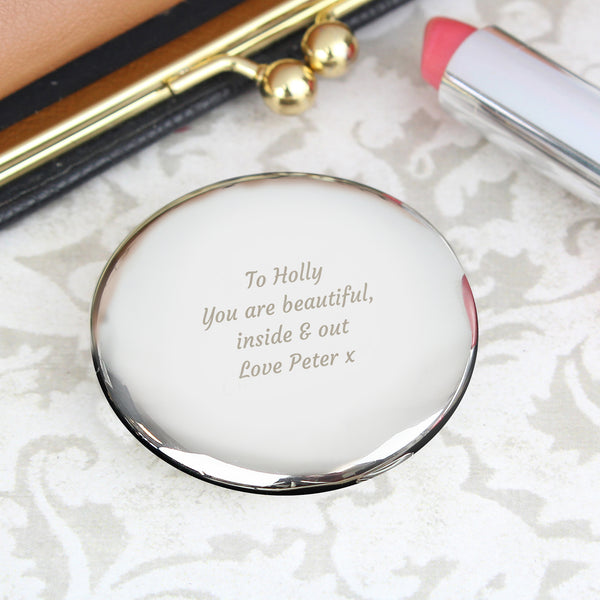 Personalised Any Message Compact Mirror with personalised name