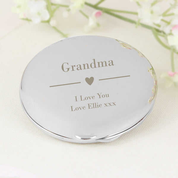 Personalised Decorative Heart Compact Mirror from Sassy Bloom Gifts - alternative view