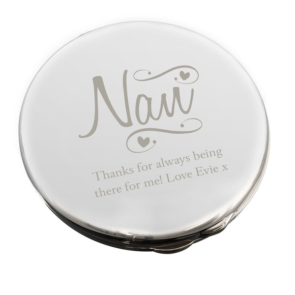 Personalised Nan Swirls & Hearts Compact Mirror white background