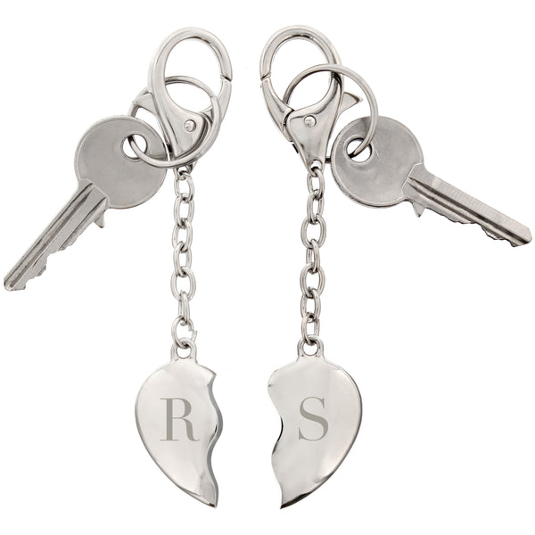 Personalised Initials Two Hearts Keyring white background