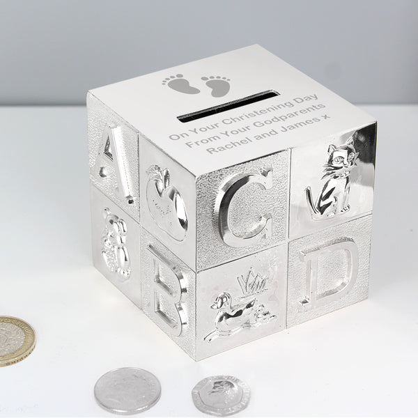 Personalised Footprints ABC Money Box with personalised name