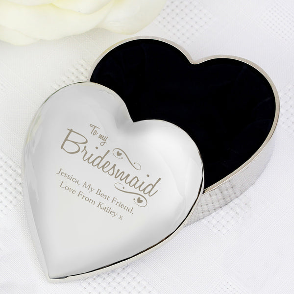 Personalised Bridesmaid Swirls & Hearts Trinket Box from Sassy Bloom Gifts - alternative view