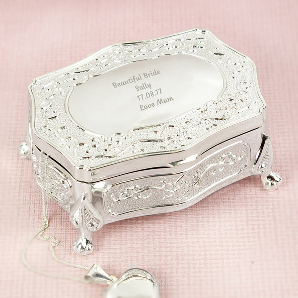 Personalised Any Message Small Antique Trinket Box lifestyle image