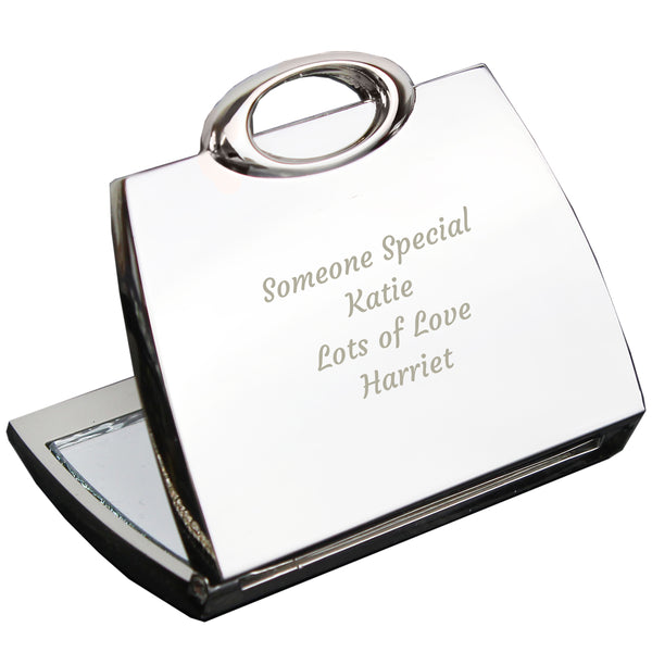 Personalised Any Message Handbag Compact Mirror white background