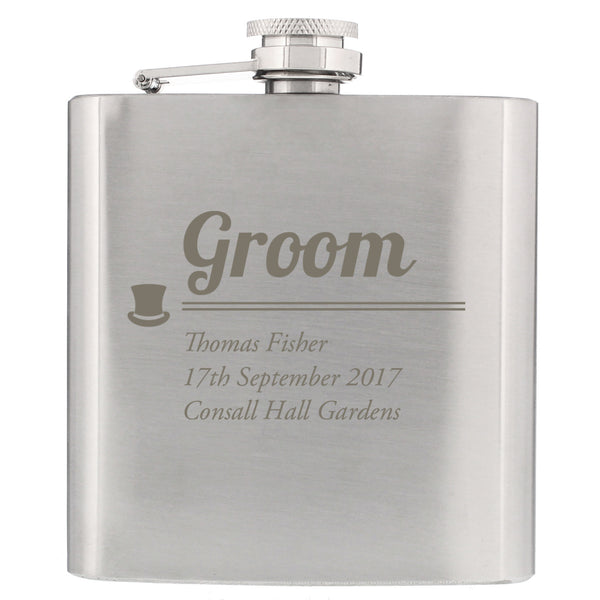 Personalised Groom Hip Flask white background