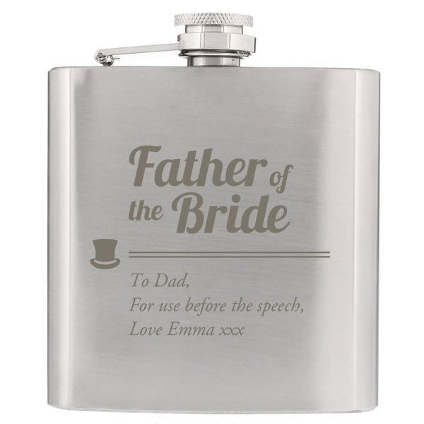Personalised Father of the Bride Hip Flask white background
