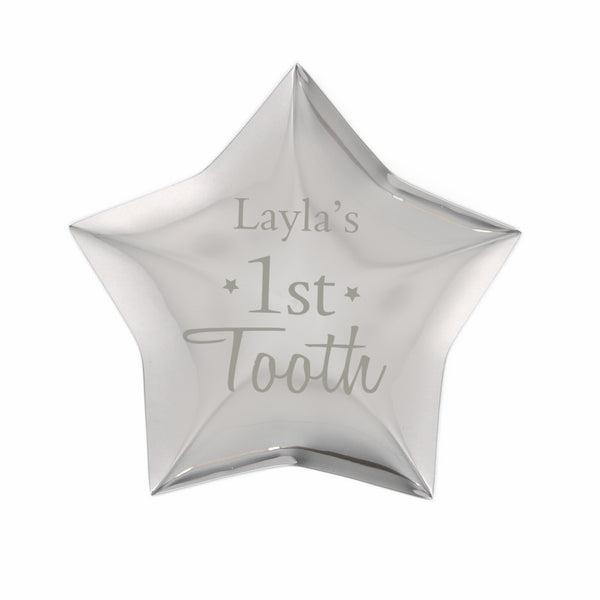 Personalised 1st Tooth Star Trinket Box white background