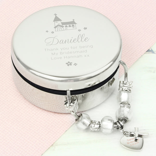 Personalised Whimsical Church Round Trinket Box & Ice White Cross Charm Bracelet from Sassy Bloom Gifts - alternative view
