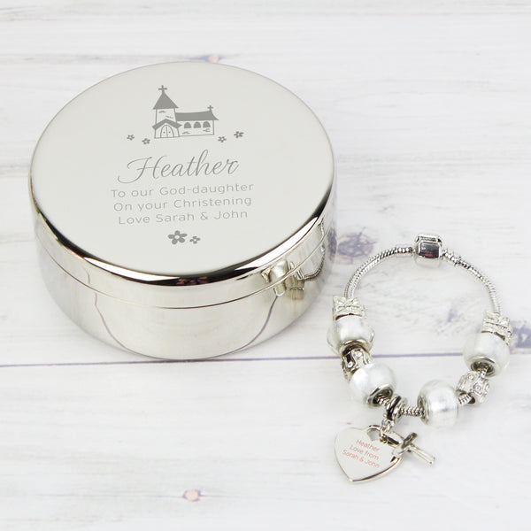 Personalised Whimsical Church Round Trinket Box & Ice White Cross Charm Bracelet with personalised name