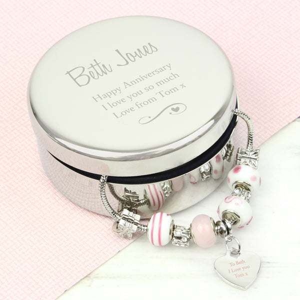 Personalised Swirls & Hearts Round Trinket Box & Candy Pink Heart Charm Bracelet from Sassy Bloom Gifts - alternative view