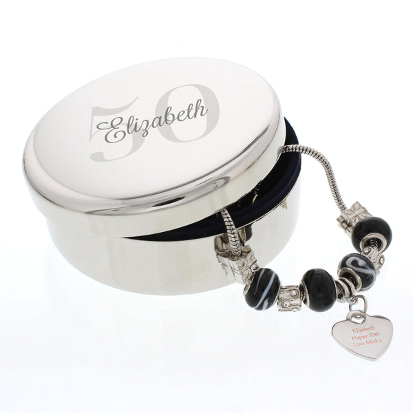 Personalised Big Age Round Trinket Box & Galaxy Heart Charm Bracelet with personalised name