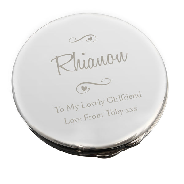 Personalised Any Message Swirls & Hearts Compact Mirror white background