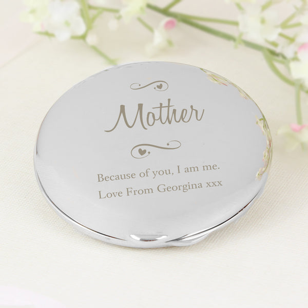 Personalised Any Message Swirls & Hearts Compact Mirror from Sassy Bloom Gifts - alternative view