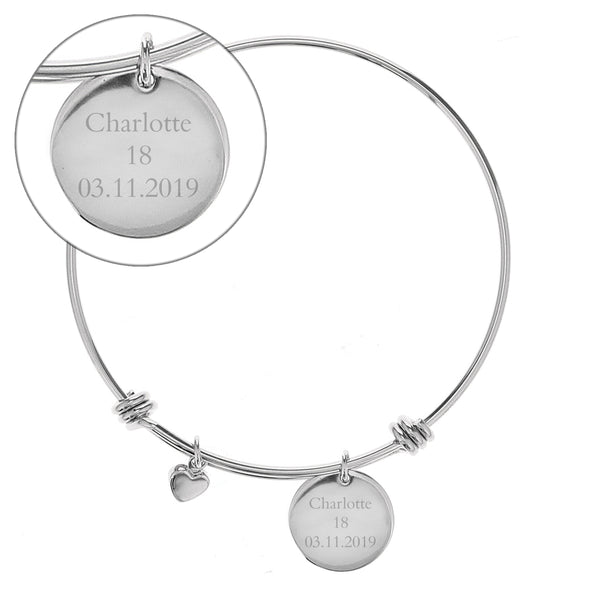 Personalised Silver Coloured Disc and Heart Charm Bracelet white background
