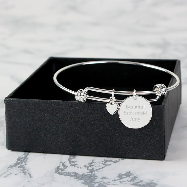 Personalised Silver Coloured Disc and Heart Charm Bracelet from Sassy Bloom Gifts - alternative view