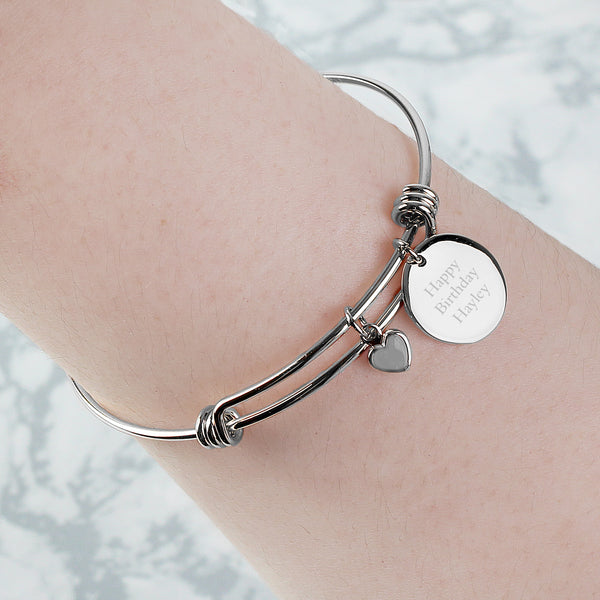 Personalised Silver Coloured Disc and Heart Charm Bracelet lifestyle image