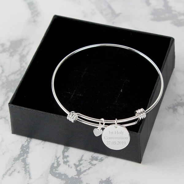 Personalised Silver Coloured Disc and Heart Charm Bracelet with personalised name