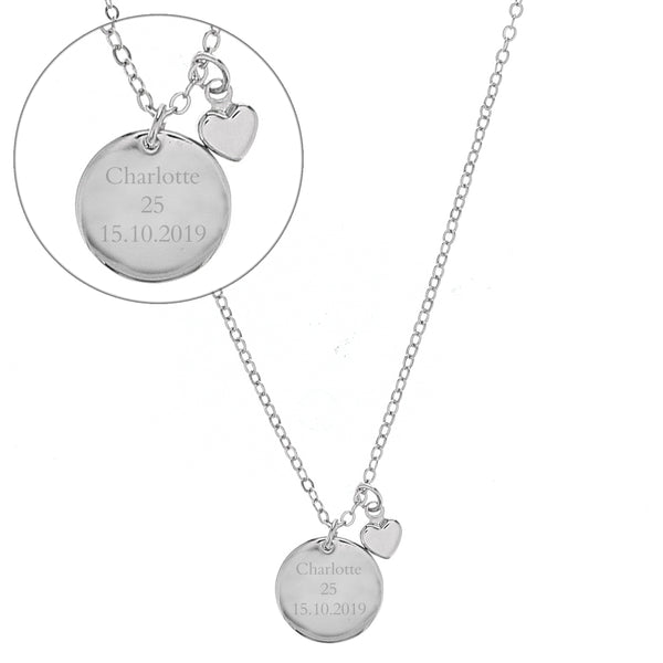Silver Coloured Disc and Heart Charm Necklace white background