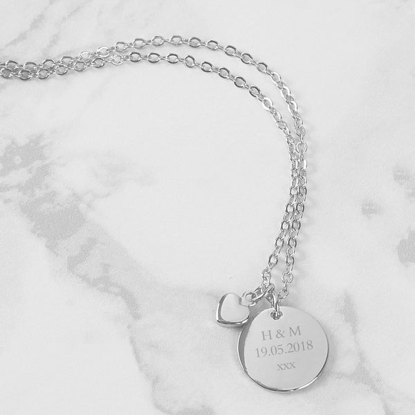 Silver Coloured Disc and Heart Charm Necklace with personalised name