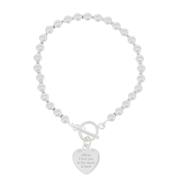 Personalised Silver Plated 'Any Message' Heart T-Bar Bracelet white background